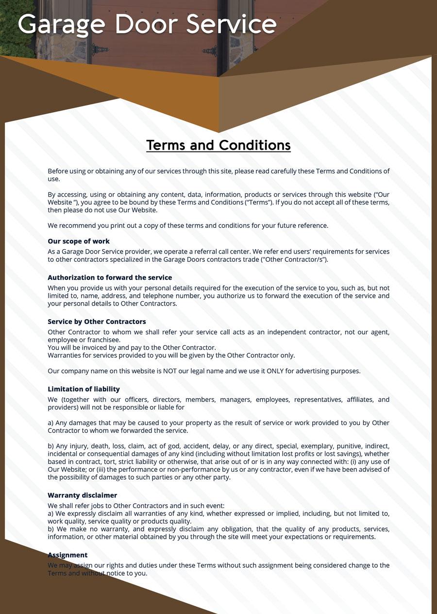 Terms And Conditions Sos Garage Door Service